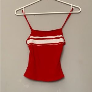 Red Cropped Tank Top With White Stripes